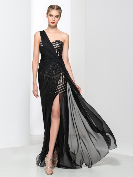 Sequins One-Shoulder Sheath Ruched Side-Split Evening Dress
