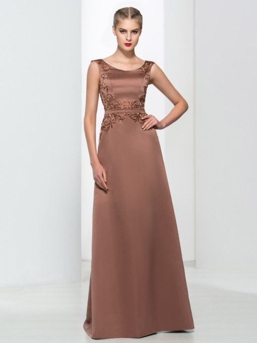 A-Line Scoop Embroidery Sequins Evening Dress