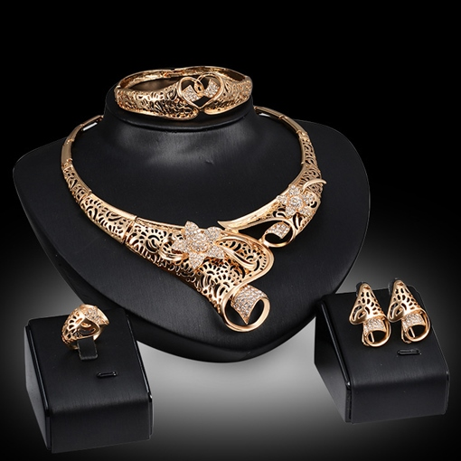 Gold-Plated Covered 4 Piece Jewelry Set