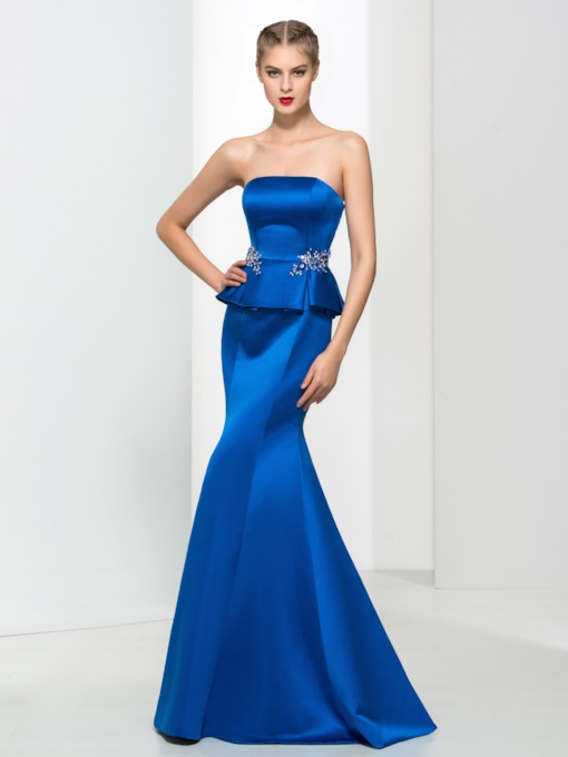 Strapless Peplum Beaded Long Evening Dress