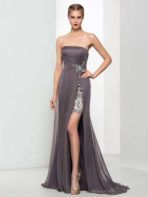 Strapless Side-Split Sequins Long Evening Dress