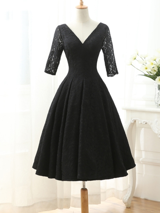 A-Line V-Neck Half Sleeve Lace Cocktail Dress