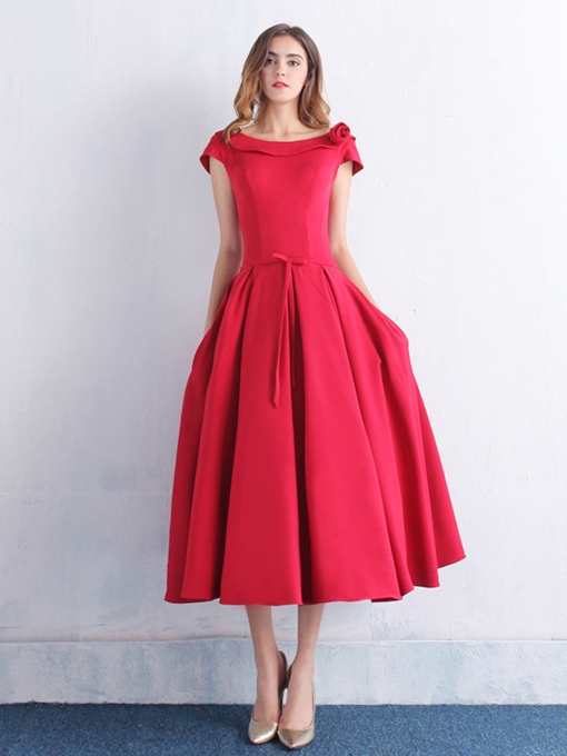 A-Line Scoop Tea-Length Cocktail Dress