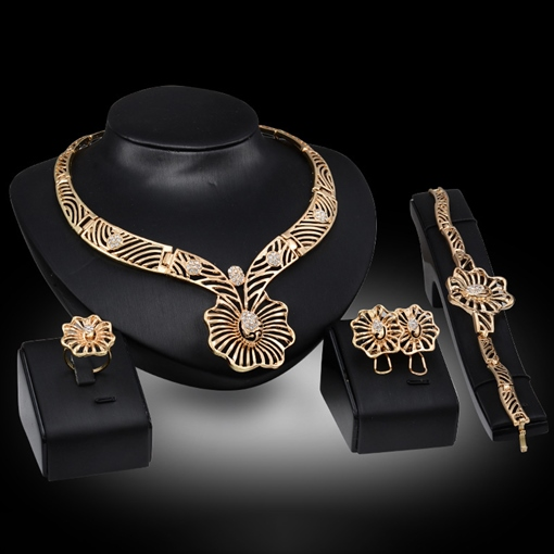 Gold-Plated Flower 4 Piece Jewelry Set