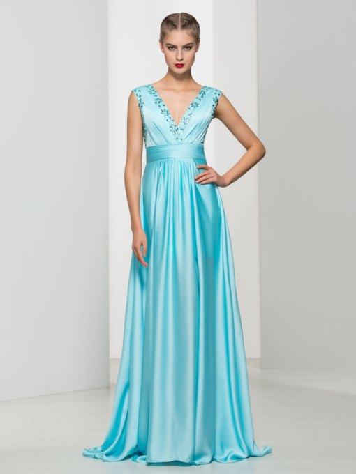 A-Line Double V-Neck Ruches Beaded Long Evening Dress