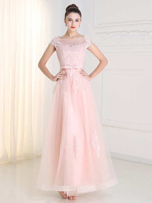 A-Line Short Sleeve Appliques Bowknot Prom Dress