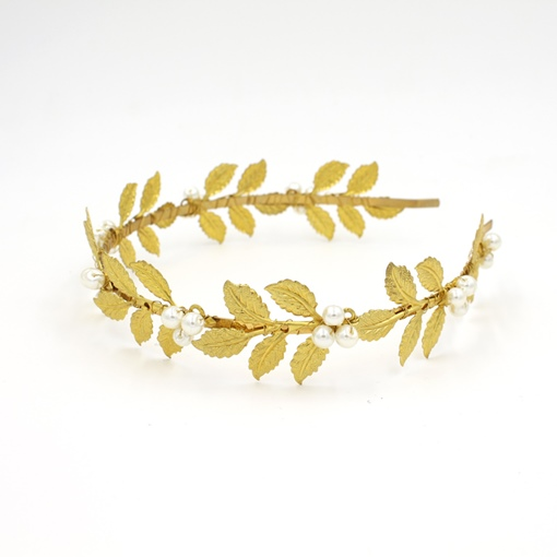 Golden Leaves Pearls Wedding / Special Occasion Headband