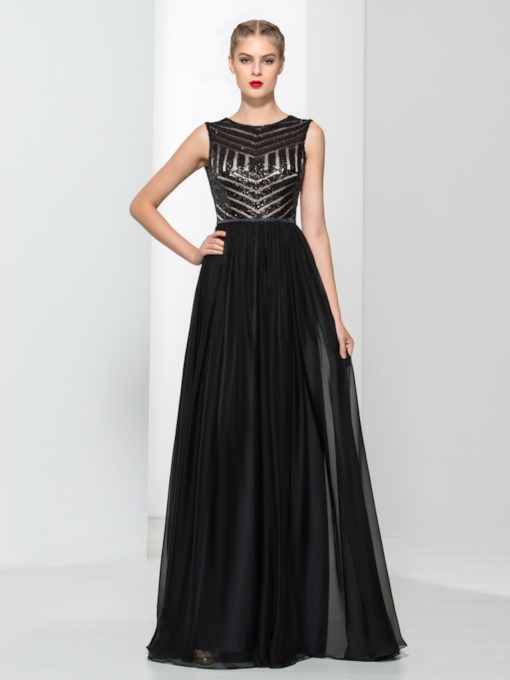 A-Line Sequins Floor-Length Evening Dress