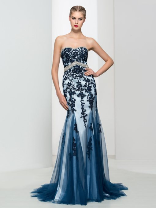 Sweetheart Appliques Beaded Sheath Long Evening Dress