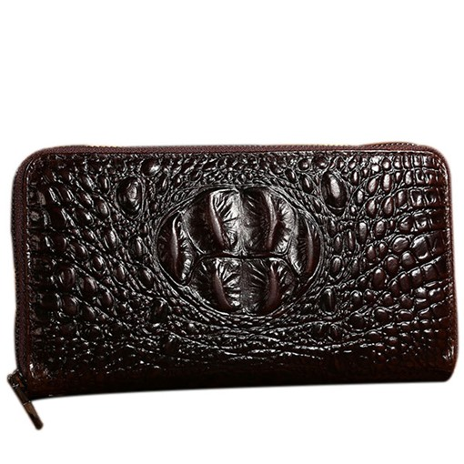 Deluxe Croco Embossed Zipper Men's Wallet