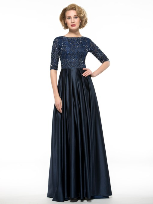 Beading Matte Satin A-Line Half Sleeve Mother of the Bride Dress
