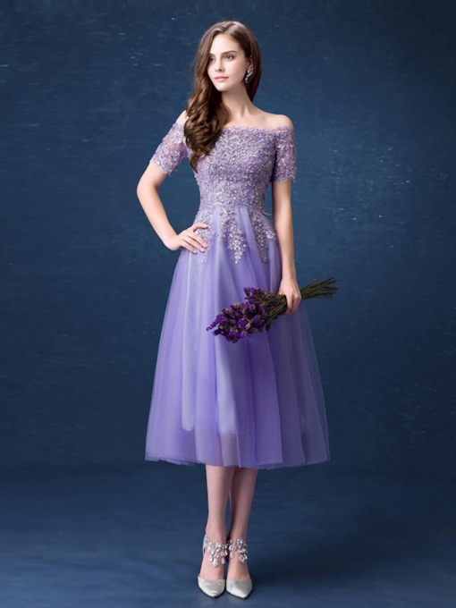 A-Line Appliques Tea-Length Cocktail Dress