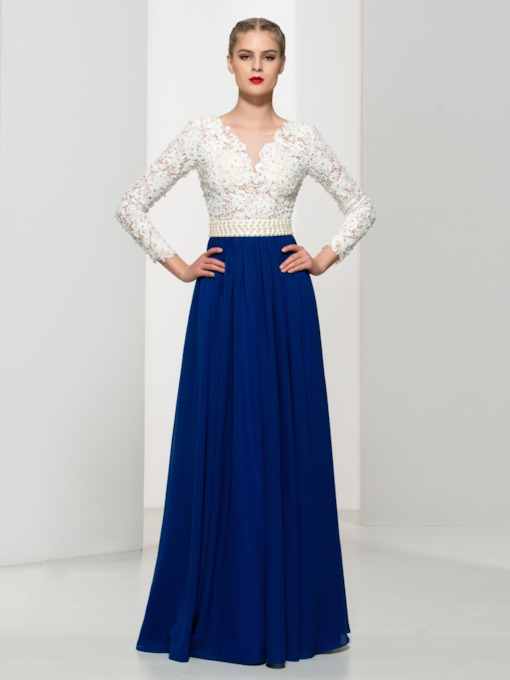 Long Sleeves Pearls Lace Evening Dress