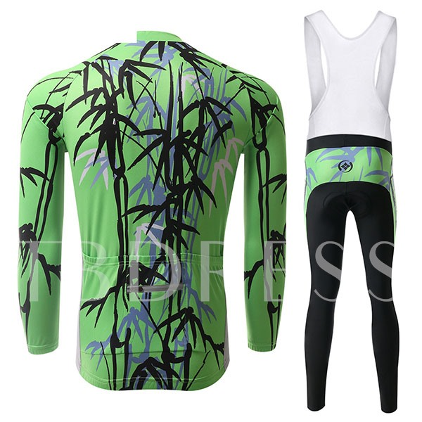 Bamboo Print Keep Warm Long Sleeve Springy Men's Cycling Suit (Plus Size Available)