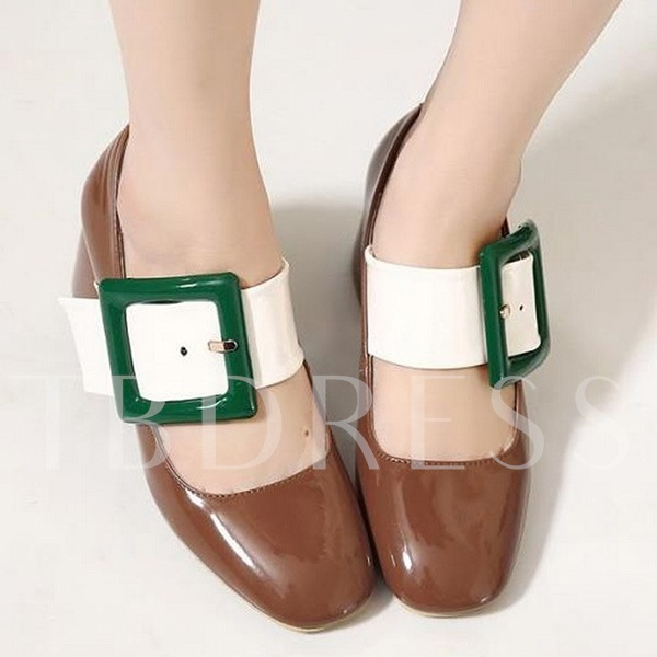 Square Heel Buckle Slip-On Chunky Heel Women's Pumps