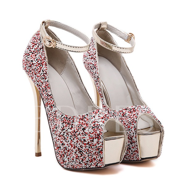 Stiletto Heel Bead Platform Women's Pumps