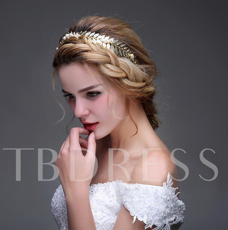 Golden Leaves Pearl Wedding / Special Occasion Headband