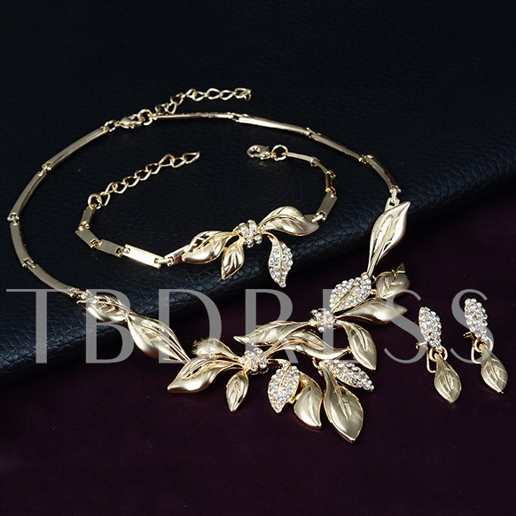 Gold-Plated Leaves 4 Piece Jewelry Set