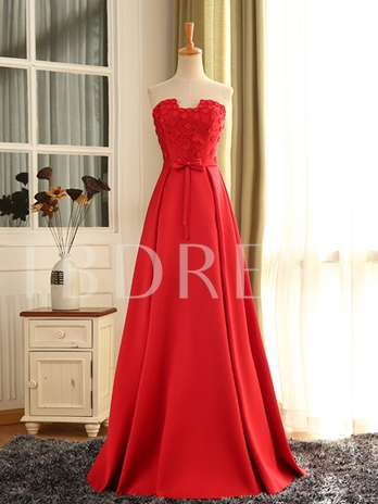 A-Line Strapless Lace-Up Appliques Prom Dress