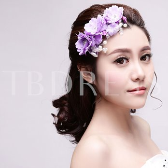 Purple Pearls Lace Wedding / Special Occasion Hair Clip