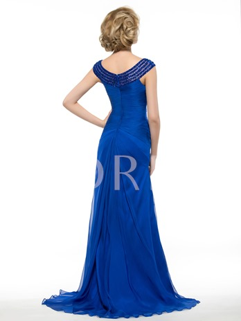 Beading Scoop Neck Pleated Floor-Length Mother of the Bride / Groom Dress