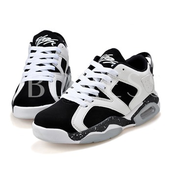 Round Toe Cross Strap Ankle Color Block Men's Sneakers
