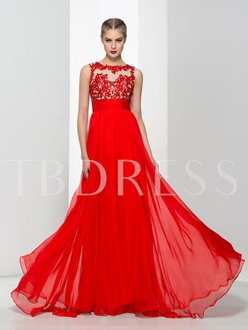 A-Line Open Back Appliques Beaded Prom Dress