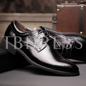 Pointed Toe Square Heel Cross Strap Patchwork Men's Oxfords