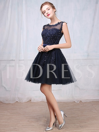 A-Line Sheer Neck Appliques Sequins Short Cocktail Dress