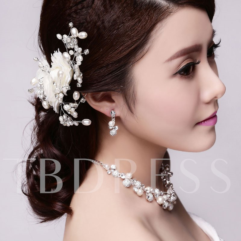 Beige Bridal Wedding Hair Flowers for 3 Pieces