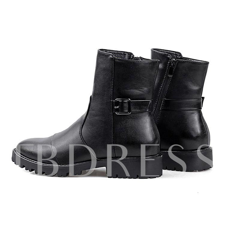Pointed Toe Square Heel Buckle Side Zipper Men's Boots