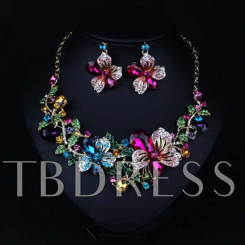 Two-Piece Imitation Crystal Flowers Jewelry Set