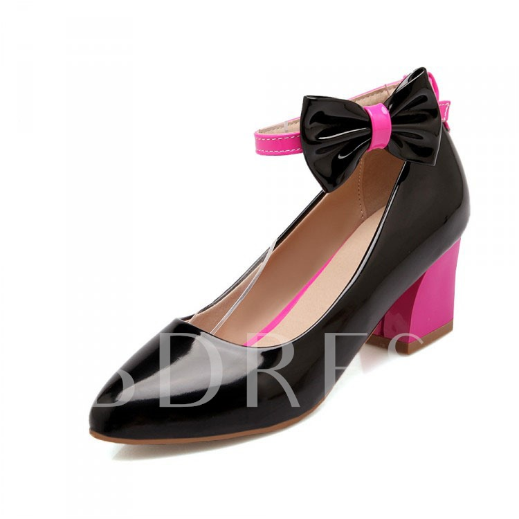 Bowtie Chunky Heel Round Toe Buckle Women's Pumps