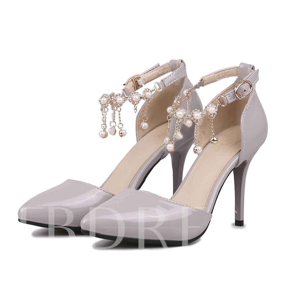 Buy Stiletto Heel Pointed Plain Chain Bead Women's Pumps, Spring,Fall, 11625539 for $32.99 in TBDress store