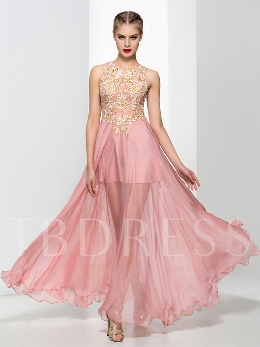 A-Line Lace Round Neck Appliques Beaded Evening Dress