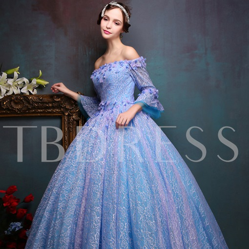 Off-The-Shoulder Long Sleeve Lace Ball Gowns