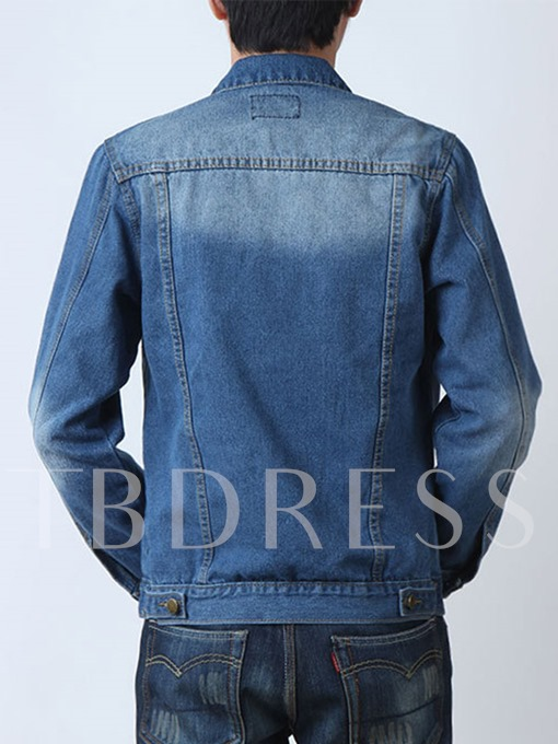 Lapel Single-Breasted Plain Slim Men's Denim Jacket