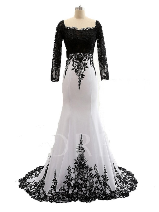 Long Sleeve Lace Chiffon Trumpet / Mermaid Mother of the Bride Dress
