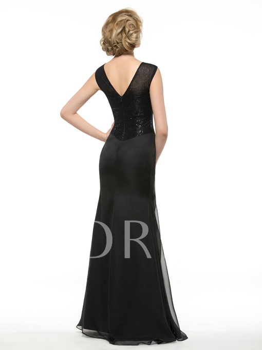 V-Neck A-Line Sequins 30D Chiffon Mother of the Bride / Groom Dress