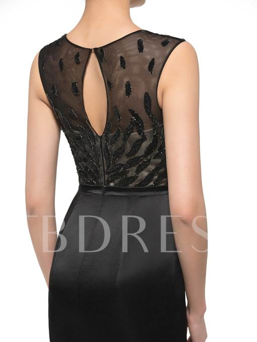 Sheer Neck Sequined Sheath Mother of the Bride Dress