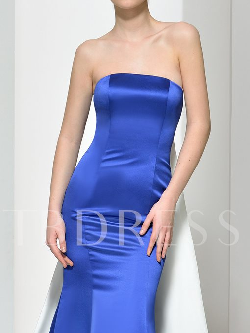 Strapless Mermaid Evening Dress With Watteau Train
