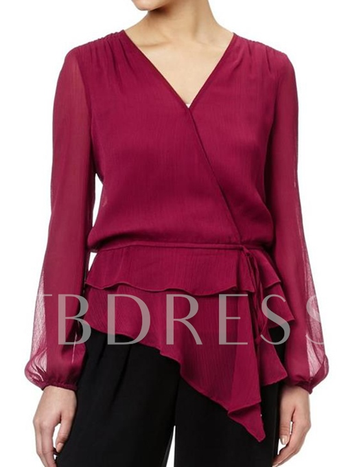 Solid Color V Neck Chiffon Women's Blouse