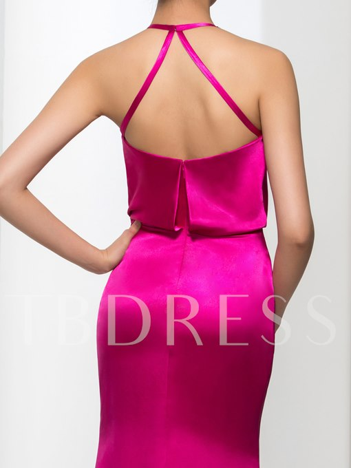 Halter Court Train Sheath Evening Dress