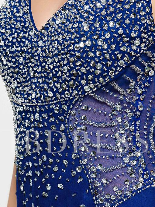 Mermaid Halter Beading Hollow Sequins Evening Dress
