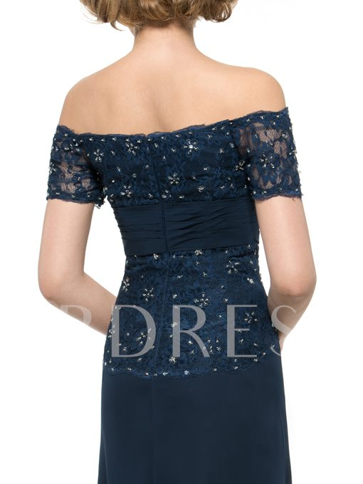 Short Sleeve Beading Lace Sheath Mother of the Bride Dress