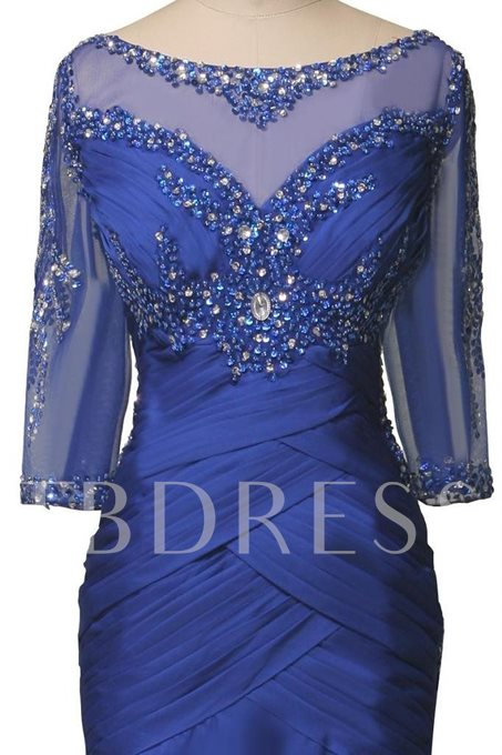 Half Sleeve Beading Mermaid Mother of the Bride Dress
