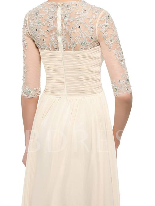 Appliques Beading Mother of the Bride Dress with Half Sleeves