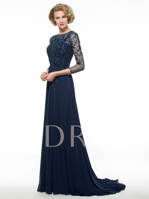 Sequins 3/4 Length Sleeve A-Line Mother of the Bride Dress