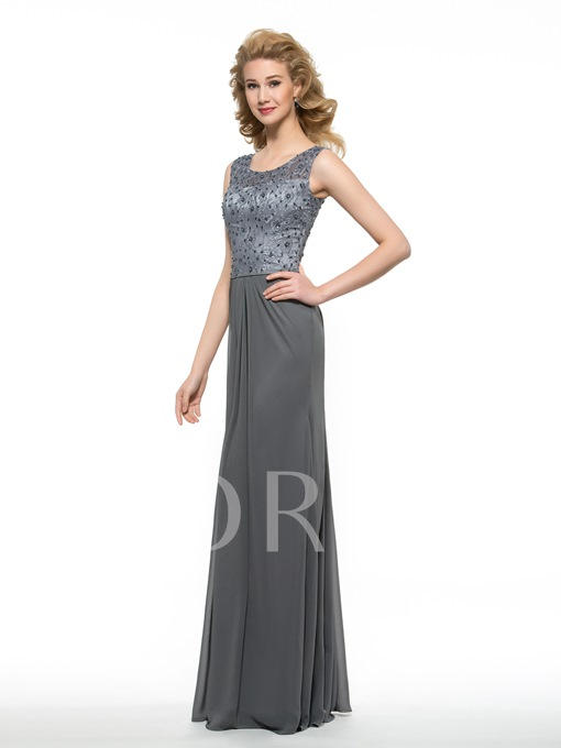 Sheath Lace Scoop Neck Beading Long Mother of the Bride Dress