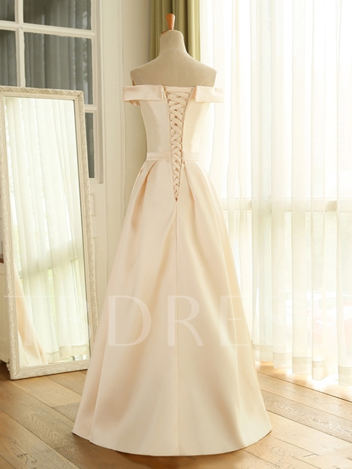A-Line Off-the-shoulder Lace-Up Prom Dress